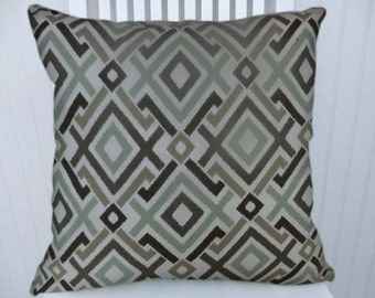 Green Brown Geometric Pillow Cover Decorative Pillow Cover  18x18 or 20x20 or 22x22 Throw Pillow- Accent Pillow.