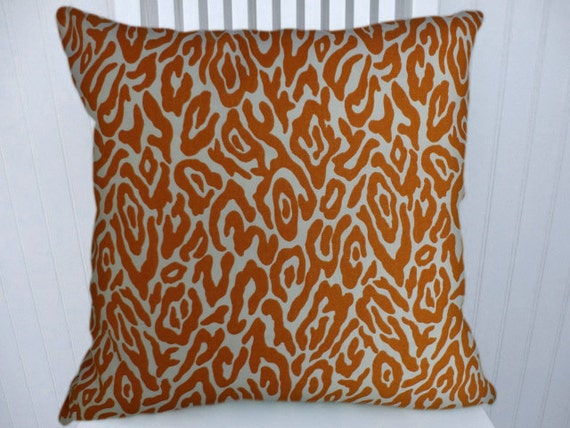 Orange Animal Print Pillow Cover---100  Cotton 18x18 or 20x20 or 22x22    Orange Animal Print
