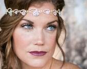 Gold rhinestone headband, Gold floral diamond, flower wedding headband, Thin skinny - Style 636