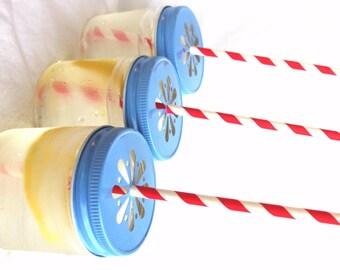 Light Blue DaiSy CuT MaSoN JaR LiDS with plastic jars-choose size---6ct--parties-weddings-showers