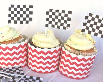 Checkerboard Flag CuPCaKe PiCKs-Parties--race car theme-12 ct