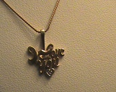 14 K Yellow Gold Chain & 10k Love Heart Pendant ith Diamond
