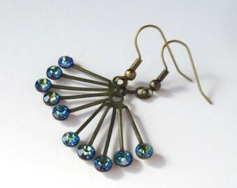 Sale, Bermuda Blue Earrings, Art Deco Jewelry, Gift for Her, Vintage Swarovski Earrings, Bronze Jewelry