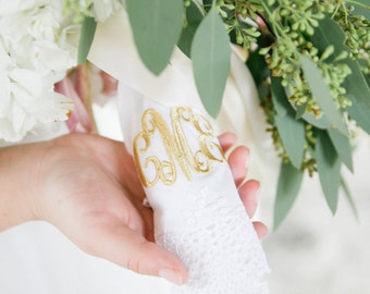 GOLD MONOGRAMMED HANDKERCHIEF / Custom Orders Welcome  / Embroidered Hanky / Bouquet Wrap / Personalized Handkerchief