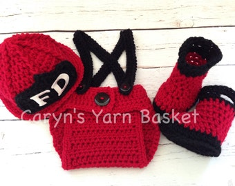 Baby Firefighter Fireman Hat Outfit, 4 pc Crochet Diaper Cover Set w/Suspenders & Boots, Newborn, 0-3, 3-6, Photography Prop - MADE TO ORDER