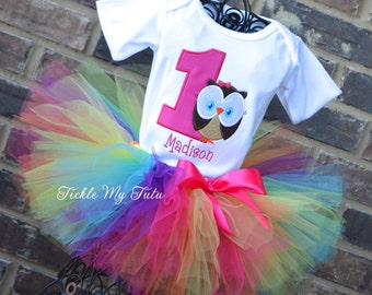 Owl Birthday Tutu Oufit-Bright and Colorful Owl Themed Birthday Outfit-First Birthday Owl Tutu Set-Owl Birthday Outfit