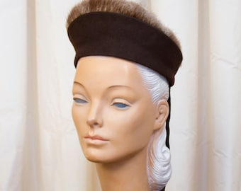 1940's Hat // Fur Trimmed Brown Wool Hat