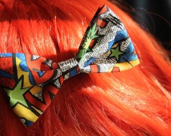 Comic Book Hair Bow - Pow! Bam! Print