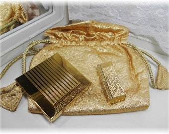 Vintage Avon Gold Lame Evening Bag & Compact