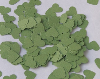 CLEARANCE - Confetti hearts 200 pcs - apple green - cardstock party wedding baby shower scrapbook crafts