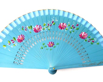 Hand painted turquoise spanish fan, floreal scene