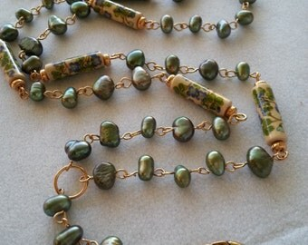 Green Freshwater Pearls & Painted Porclain Beaded ID Lanyard