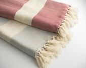 Turkish Towel Bath Set of 2, Soft Peshtemal / Fouta / Red - Gray Gift For Her & Him