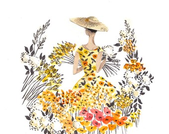 Yellow Flowers A4 Art Print