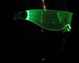 The original Illuminated Cyber goth visor V3 Acid Green