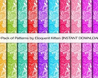 10 Digital Flower Patterns in White, Pink, Purple, Green, Orange, Blue, Red, Rainbow
