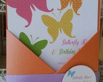 Polka Dotted Butterfly Theme Birthday Invitation - First Birthday Invitation Customize your Butterfly Colors*