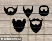 Photo Booth Props - PRINTABLE Beards - Props on a Stick - INSTANT DOWNLOAD