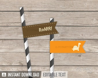 Dinosaur Party - Straw Flags - Orange and Brown - Dino Party - INSTANT DOWNLOAD - Printable PDF with Editable Text