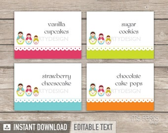 Matryoshka Party - Food Labels / Place Cards - INSTANT DOWNLOAD - Printable PDF with Editable Text