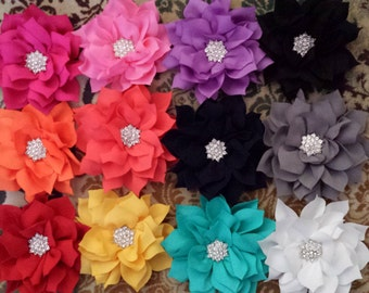Bling Flower Clip, Brooch Pin or Magnet in Several Colors