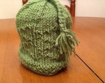 Hand knit brocade Childs hat