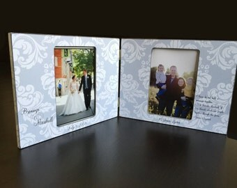 Double Picture Frame Personalized Wedding Gift Two Photo Frame Anniversary Gift for Twins Mothers Day Wood 4x6 Double Picture Frame Keepsake