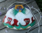COLINA brand soft Leather HANDBAG long strap or Clutch PURSE southwest style white red green purple gold vintage