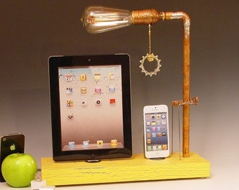 Docking stations and chargers for ANY iPhone/iPad AND table lamp. Reclaimed wood & copper pipe. Edison bulb. USB wall charger.  (640)