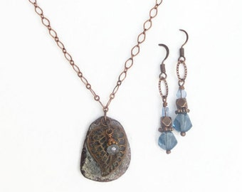 Purple and Blue Roman Glass with Antique Copper Leaf filigree - Necklace and Earrings Set - mom, friend, sister handmade jewelry gift