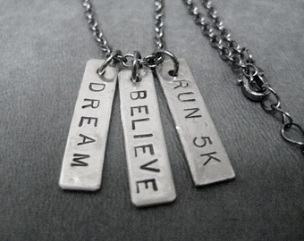 DREAM BELIEVE RUN 5K Running Necklace on gunmetal chain - Cross Country Runner - Running Jewelry - First Road Race - New Runner - Race Ready