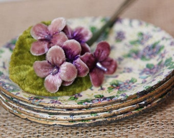 Paper Mache Floral Coaster Set, Made in Japan, Violet Chintz Coaster Set of 4, Alcohol Proof Coasters, #634 A