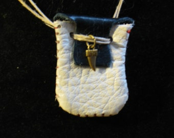 Blue and White Genuine Leather Mini Pouch Necklace