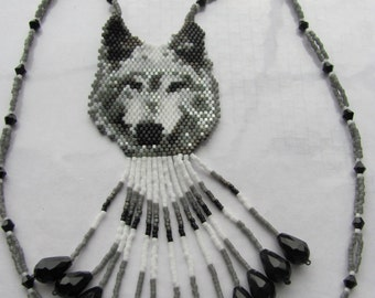 Hand Beaded Grey Wolf necklace