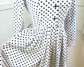 Adorable 1970s 1960s Polka Dot Dress / Navy White Pleated Skirt Shirtdress / Polyester Dress / Long Sleeve MEDIUM