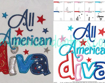 All American Diva 4th of july embroidery applique design instant download