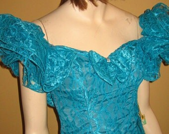 70s OffShoulder Ruffled Salsa Dress UNWORN wRhinestone Detail by Loralie Originals Bust 34