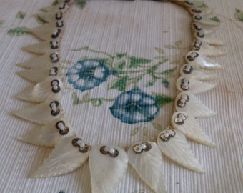 REDUCED  Mother of Pearl Leaf Necklace
