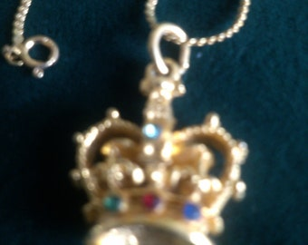 "Rhinestone Encrusted Crown on 24""Necklace"