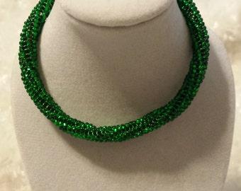 Emeral Green Twisted Herringbone Bracelet