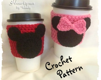 CROCHET PATTERN to make a Mickey Mouse and Minnie Mouse Coffee / Tea Cup Cozy and applique, Pdf Format, Instant Download.