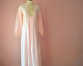 Christian Dior Long  Nightgown Pink Brushed Back Satin  and Ecru Lace Vintage Lingerie Size Small - VL292