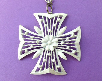 Large White Enamel Maltese Cross Pendant, White Cross with Ornate Openwork, Cross & Matching Neck Chain, 1960s Cross Necklace