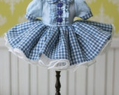 PO - Anniedollz Handmade Blythe Plaid One Piece Dress - Pacific Blue