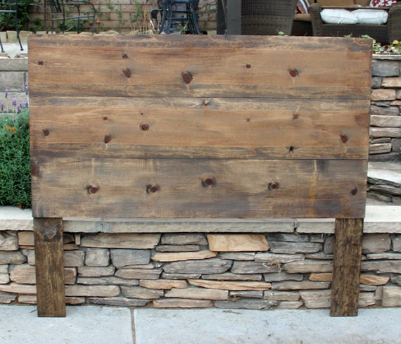 Queen twin double full king headboard wood rustic chic - Tete de lit bois rustique ...