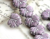 Maple leaves, Czech glass, leaf beads - Violet lilac, silver inlays, woodland, pressed beads - 11x13mm - 10Pc - 1930