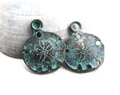 Sand dollar charm, metal casting charms, green patina on copper, nautical beads, sea ocean - 2pc - F206