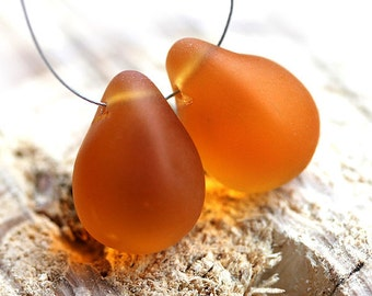 Frozen Amber Topaz Teardrops, czech glass, large Briolettes, yellow beads pair - 15x20mm - 2Pc - DP13