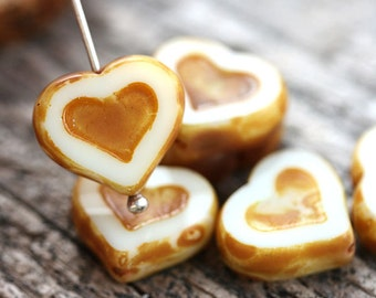 Heart beads, Beige Picasso beads, czech glass, table cut, Yellow Ochre, glass heart - 14mm - 6Pc - 0158