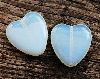 Huge heart beads, Moonlight blue czech glass hearts, opal blue big focal beads - 24x22mm - 3Pc - 0316